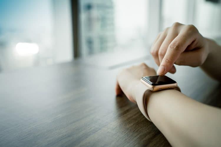 Woman wearing a smart watch